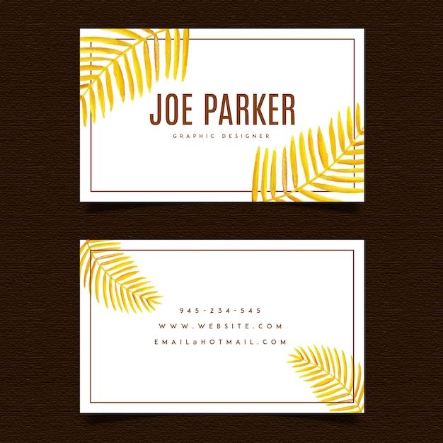 Cartão de visita das folhas douradas Vetor Premium