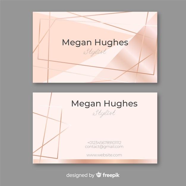 Cartão de visita das linhas do ouro de rosa Vetor Premium