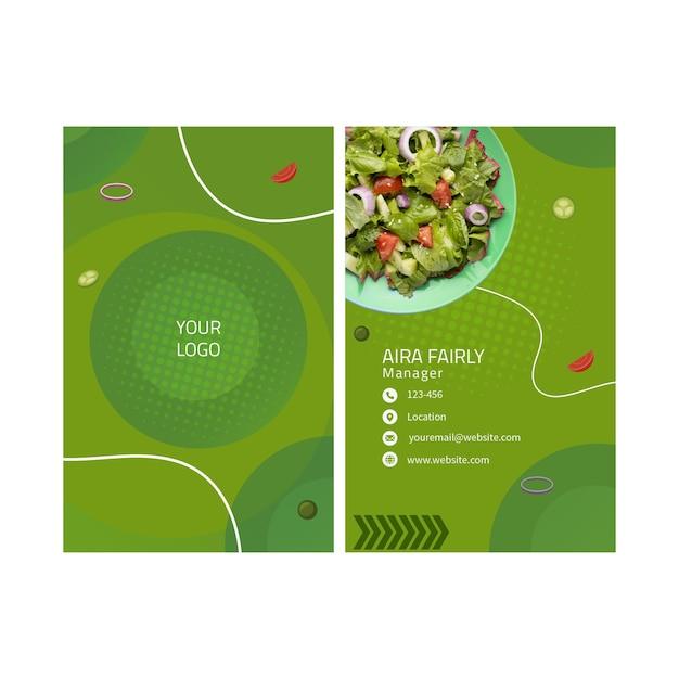 Cartão de visita de alimentação saudável Vetor Premium