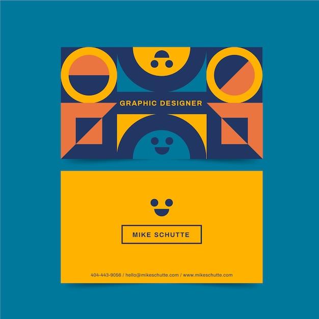 Cartão de visita de designer gráfico com carinhas Vetor grátis