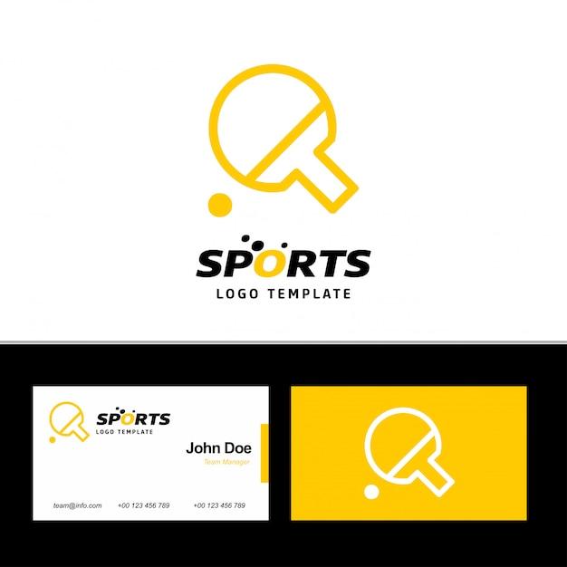 Cartão de visita de esportes com tema amarelo e branco Vetor grátis