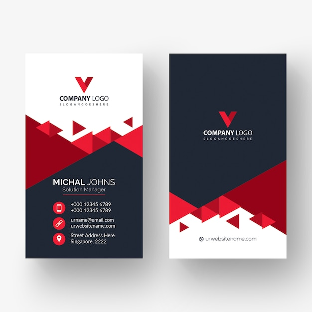 Cartão de visita de forma vermelha Vetor grátis
