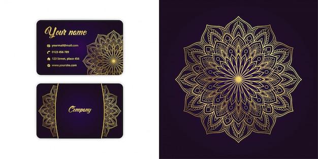 Cartão de visita de luxo arabesco mandala ouro e fundo arabesco em elegante cor roxa Vetor Premium
