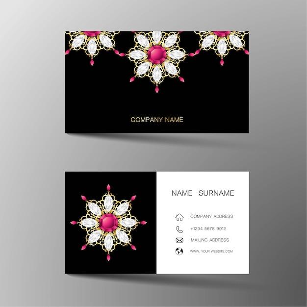 Cartão de visita de luxo. inspirado por diamantes. Vetor Premium