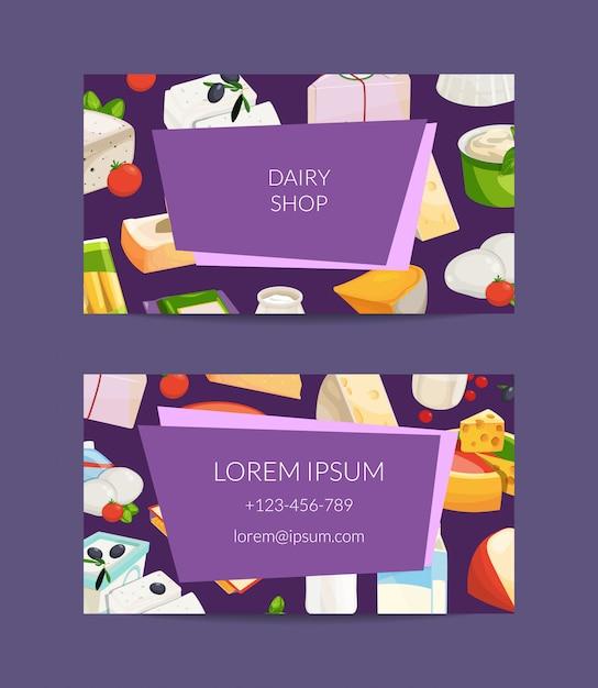 Cartão de visita de produtos de leite e queijo dos desenhos animados Vetor Premium