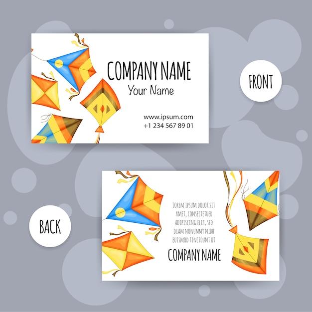 Cartão de visita de verão com ilustração de pipas Vetor Premium