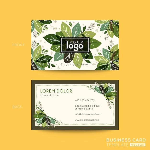 Cartão de visita, design de cartão de nome com folhas verdes Vetor Premium
