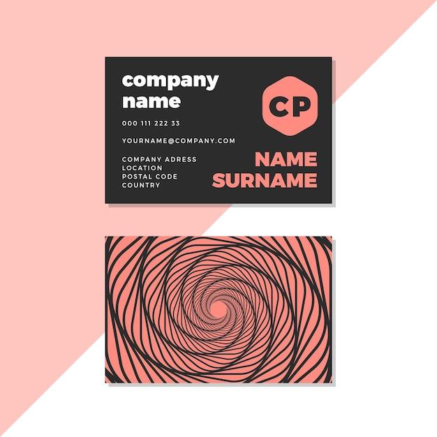Cartão de visita distorcido preto e rosa do redemoinho Vetor Premium