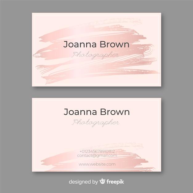 Cartão de visita do curso da escova do ouro de rosa Vetor Premium