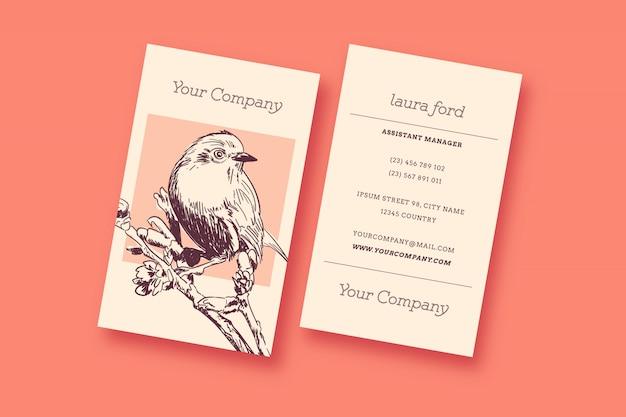 Cartão de visita do vintage do pássaro Vetor grátis