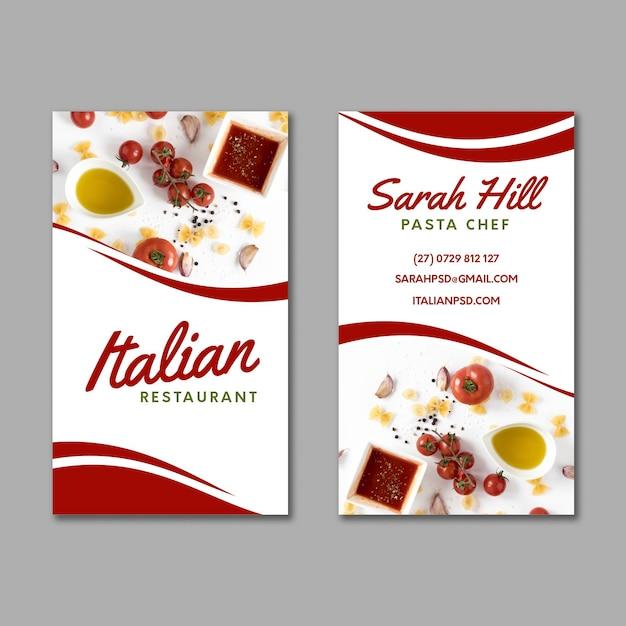 Cartão de visita dupla-face de comida italiana Vetor Premium