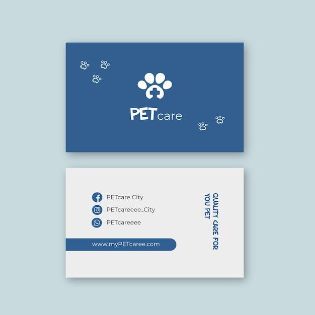 Cartão de visita duplo veterinário Vetor Premium