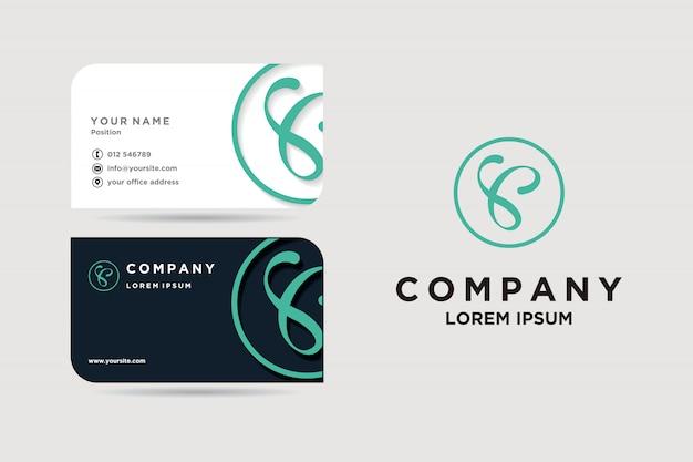 Cartão de visita e logotipo Vetor Premium