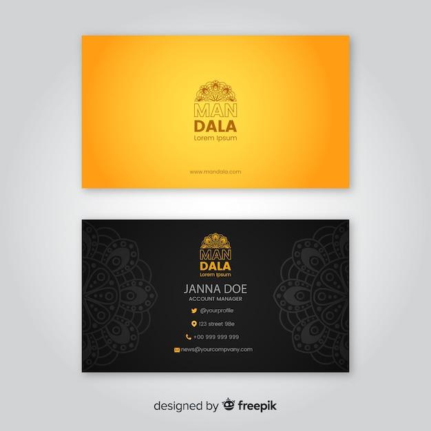 Cartão de visita elegante com design mandala Vetor grátis