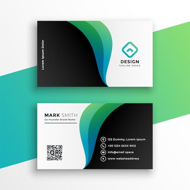 Cartão de visita elegante com formas curvas Vetor grátis