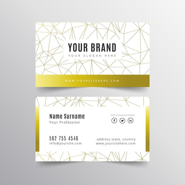 Cartão de visita elegante com linhas douradas Vetor grátis