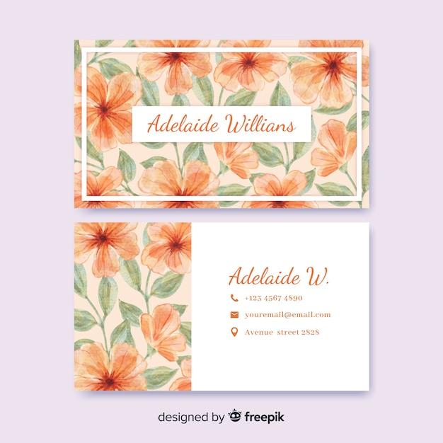 Cartão de visita em aquarela floral modelo Vetor grátis