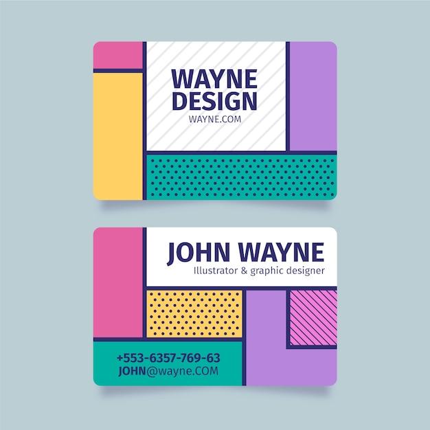 Cartão de visita engraçado designer gráfico com pontos e linhas Vetor grátis