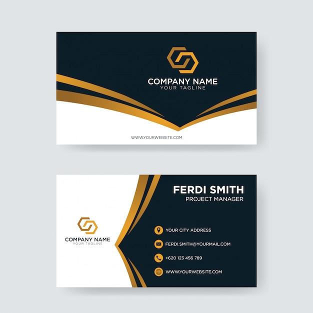 Cartão de visita escuro incorporado do ouro Vetor Premium
