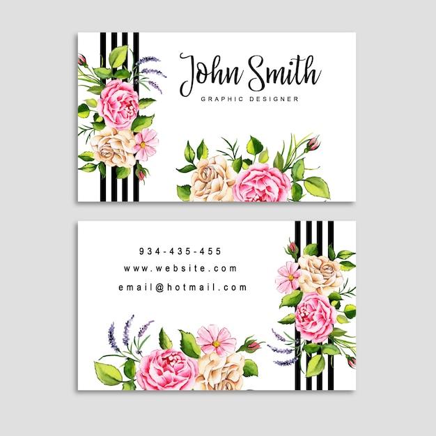 Cartão de visita floral da aguarela com listras Vetor Premium