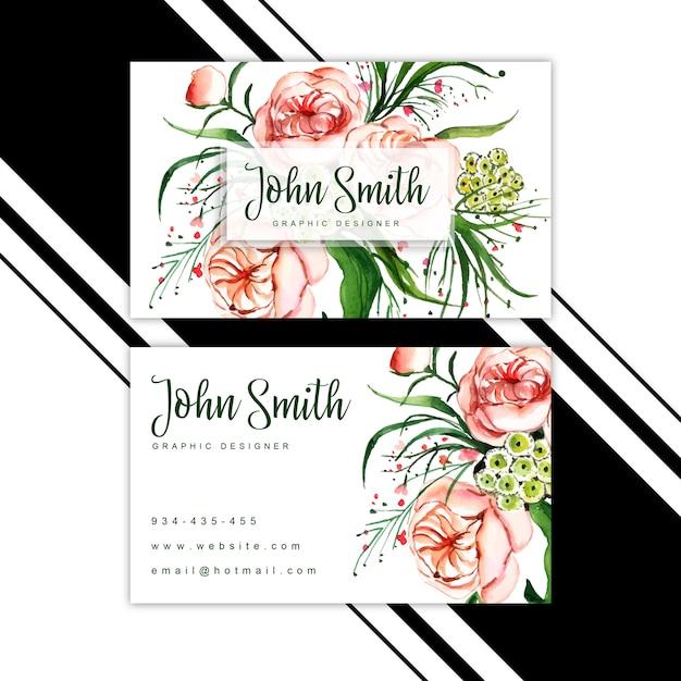 Cartão de visita floral da aguarela Vetor Premium