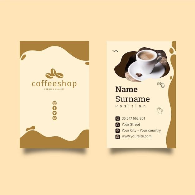 Cartão de visita frente e verso da cafetaria Vetor Premium