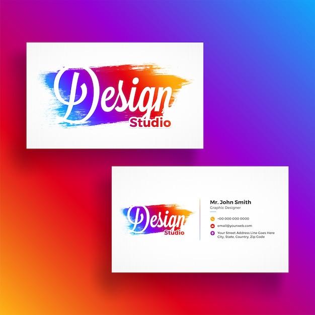 Cartão de visita horizontal, colorido com apresentação de frente e para trás para agências criativas. estúdio de design e outros. Vetor Premium