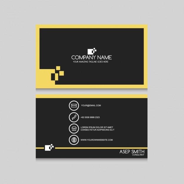 Cartão de visita minimalista com detalhes amarelos