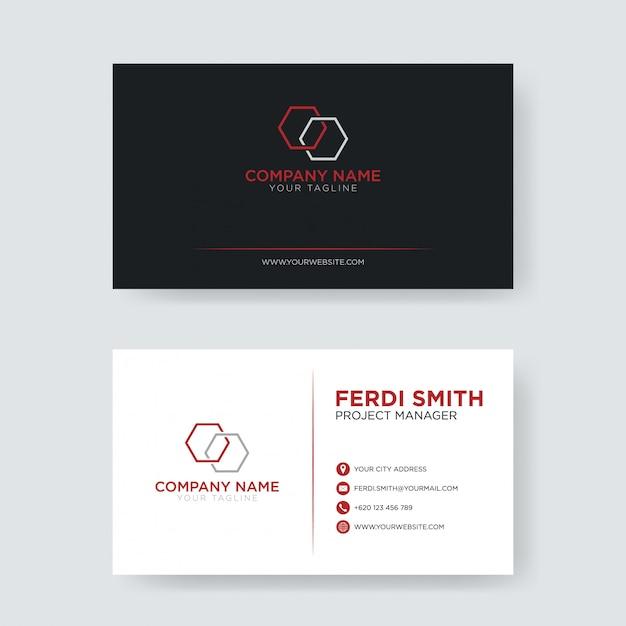 Cartão de visita minimalista vermelho Vetor Premium