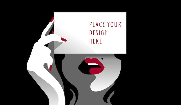 Cartão de visita mockup- lady Vetor Premium