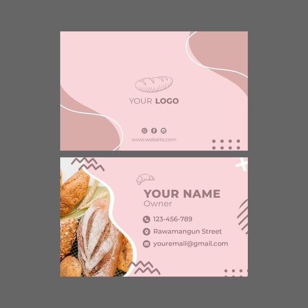 Cartão de visita modelo de anúncio de padaria Vetor Premium