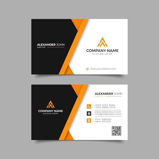 Cartão de visita moderno preto e laranja elegante profissional Vetor Premium