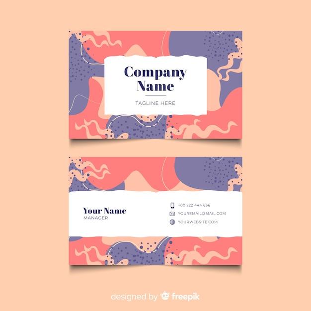 Cartão de visita pintado à mão colorido Vetor grátis