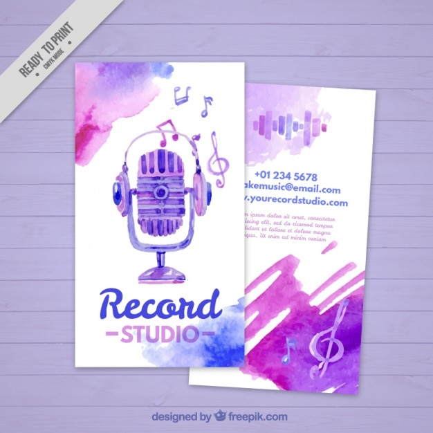 Cartão de visita pintado com aguarelas para um estúdio de música Vetor grátis