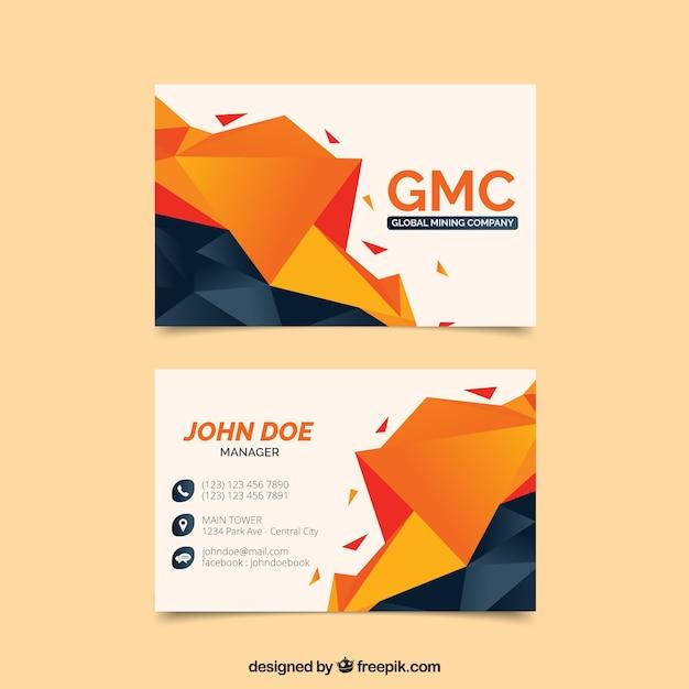 Cartão de visita poligonal Vetor grátis