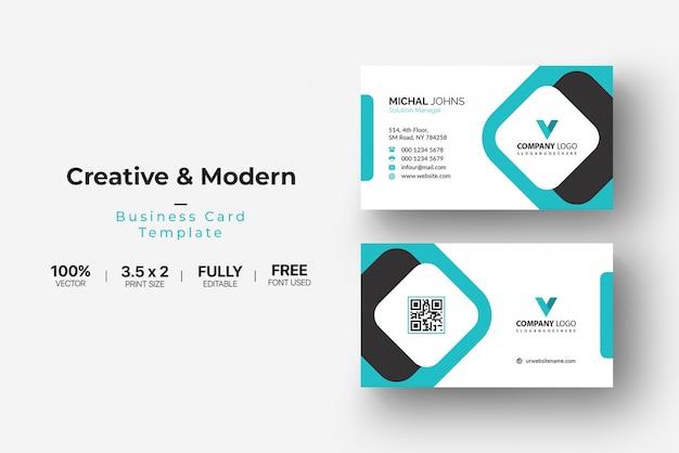 Cartão de visita preto e branco com detalhes de água-marinha Vetor Premium