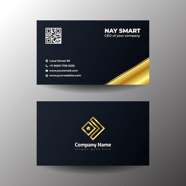 Cartão de visita preto simples Vetor Premium