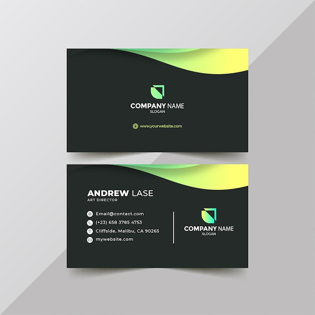 Cartão de visita verde gradiente Vetor Premium