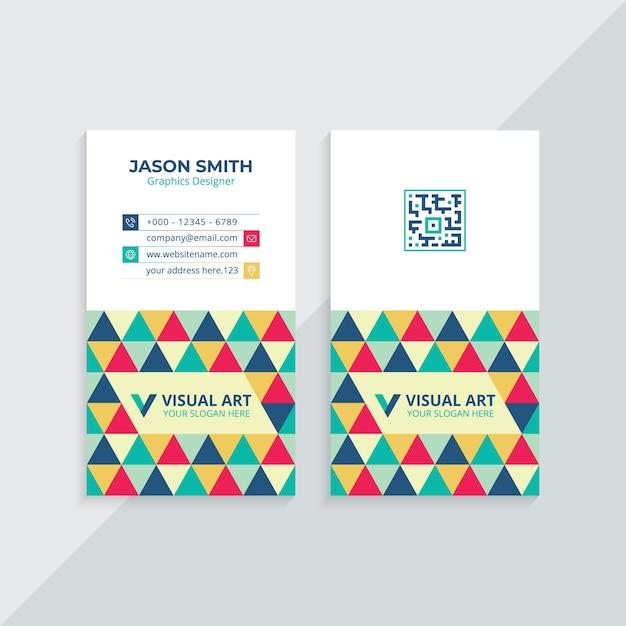 Cartão de visita vertical colorido Vetor Premium