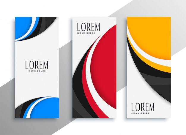 Cartão de visita vertical ondulado colorido ou design de banner Vetor grátis