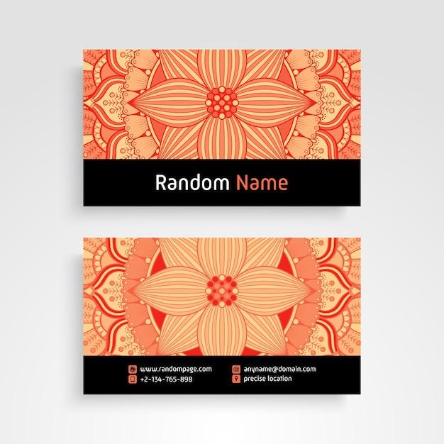 Cartão de visitas. elementos decorativos vintage. cartões de visita florais ornamentais ou convite com mandala Vetor grátis