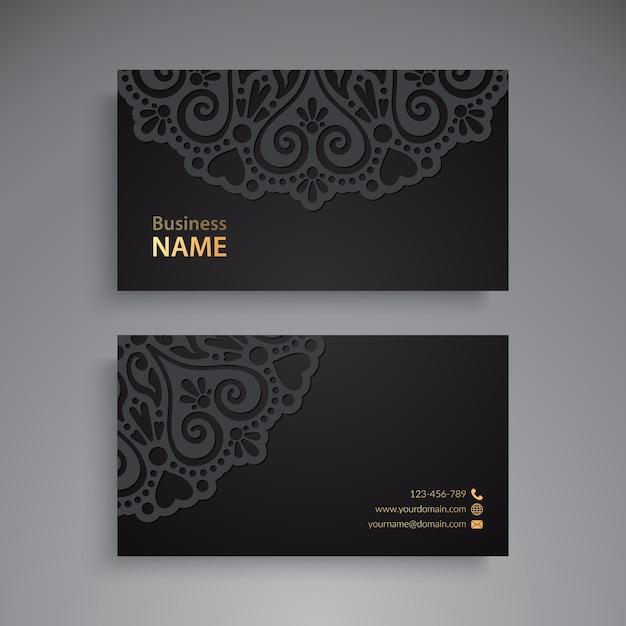 Cartão de visitas. elementos decorativos vintage. cartões de visita florais ornamentais ou convite Vetor Premium