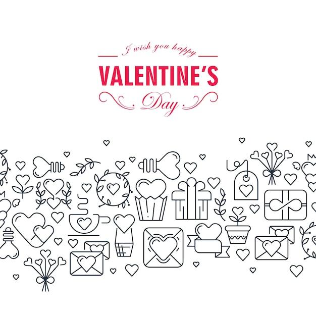 Cartão decorativo de feliz dia dos namorados com palavras sobre ser feliz e muitos símbolos monocromáticos, como ilustração de setas de fita em coração Vetor grátis
