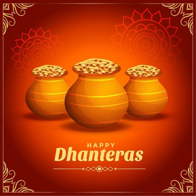 Cartão decorativo do festival dhanteras feliz com pote de moedas de ouro Vetor grátis
