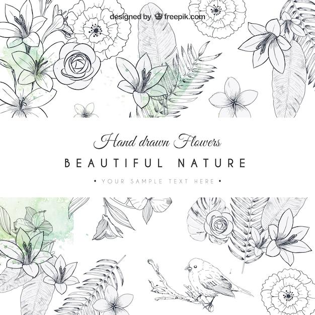 Cartão desenhado mão flores Vetor grátis