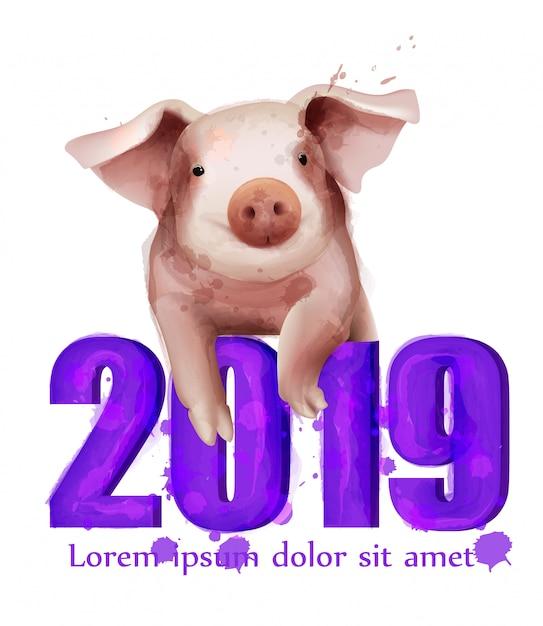 Cartão do ano do porco de 2019 aguarelas Vetor Premium