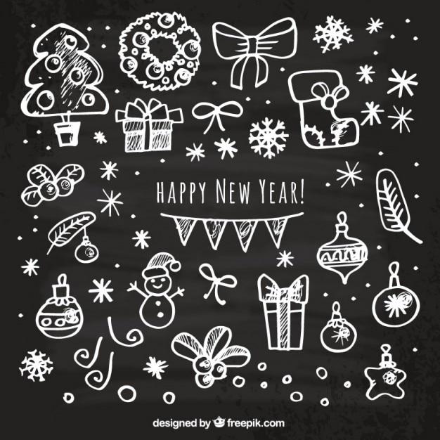 Cartão do ano novo feliz esboçado Vetor grátis