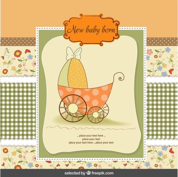 Cartão do chuveiro de bebê colorido com carrinho de bebê Vetor grátis