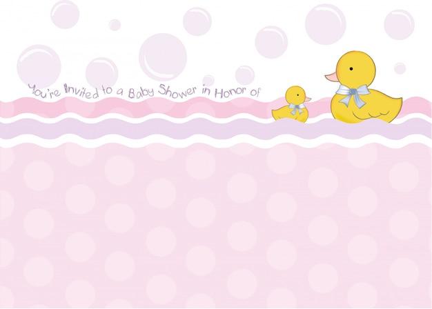 Cartão do chuveiro de bebê com brinquedos de pato Vetor Premium