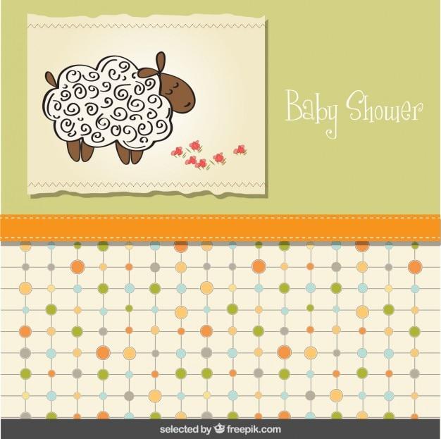 Cartão do chuveiro de bebê com carneiros Vetor grátis
